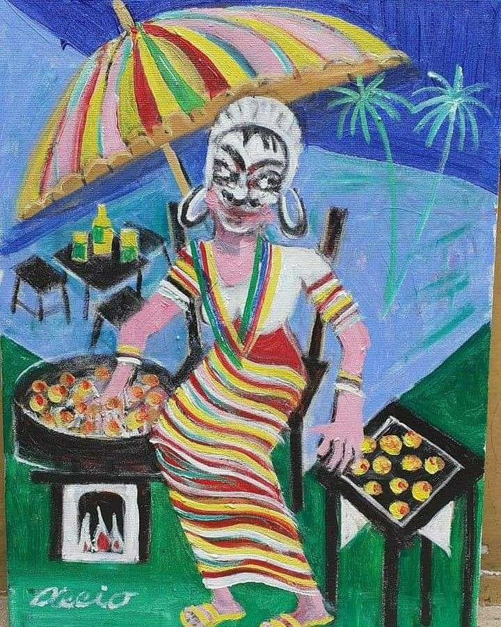 Imagen aecio artista naif tema vendedora de acarajé medida 40x30