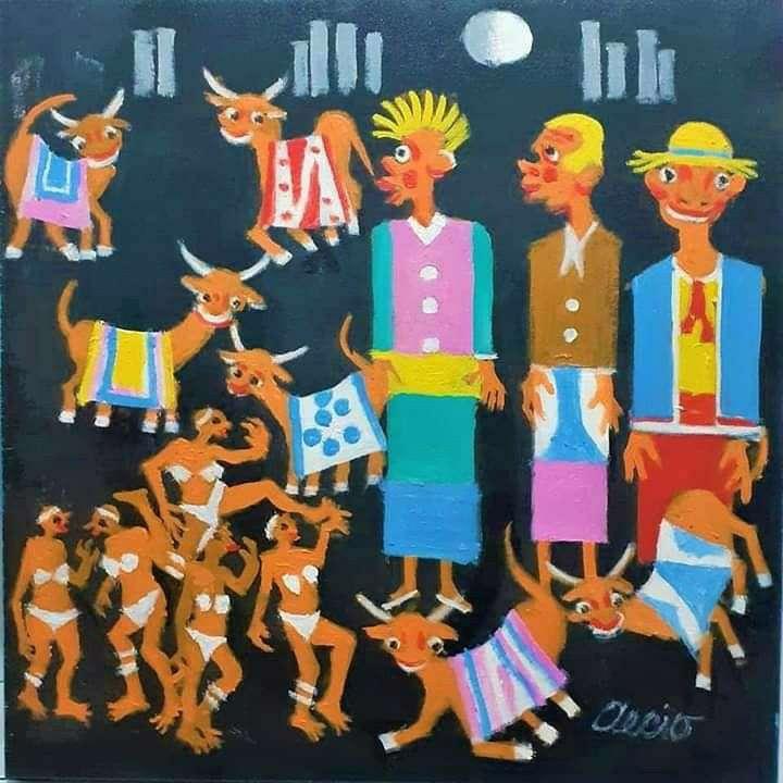 Imagen aecio artista naif tema bonecoes carnaval medida 40x40