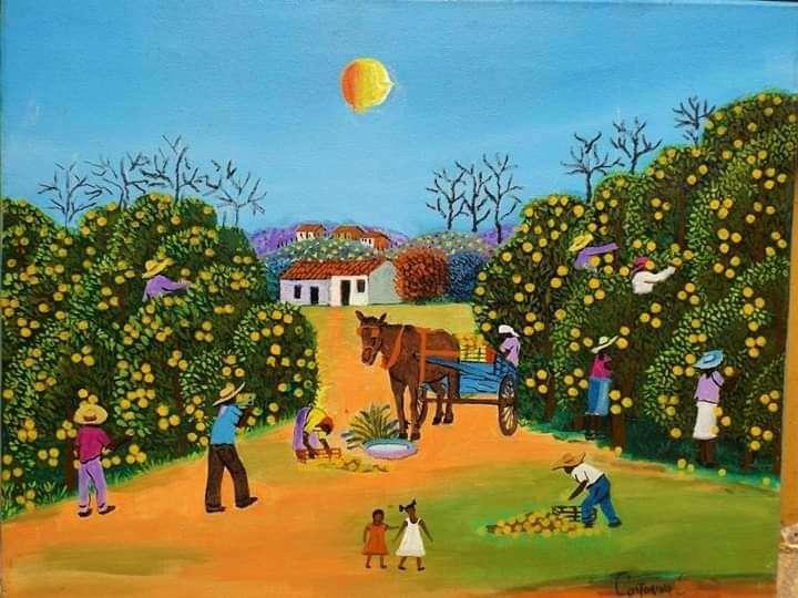 Imagen castorina artista naif tema colheita de laranja medida 50x40