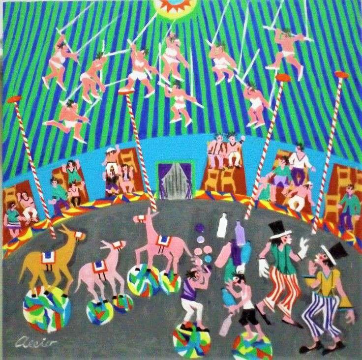 Imagen aecio tema circo brasil medida 60x60 acrílica sobre tela