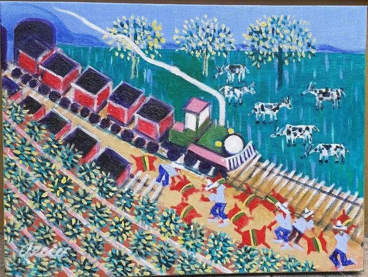 Imagen aecio artista naif tema Maria fumaça medida 30x4o 30x40