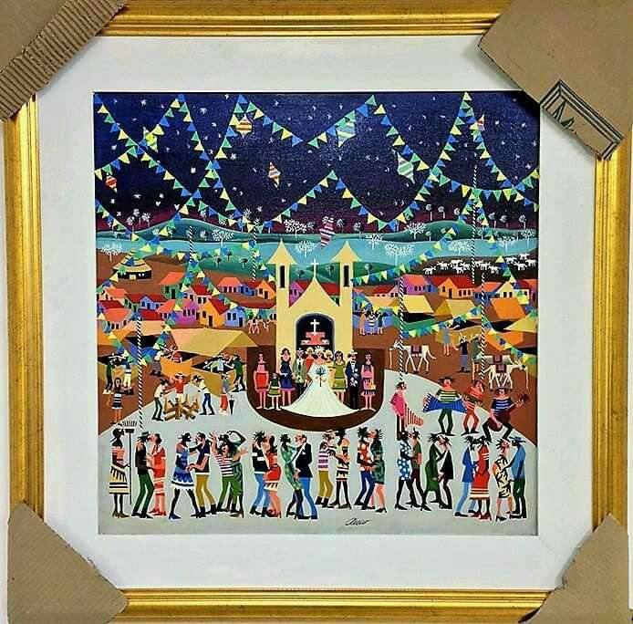 Imagen aecio artista naif tema casamento junino medida 60x60