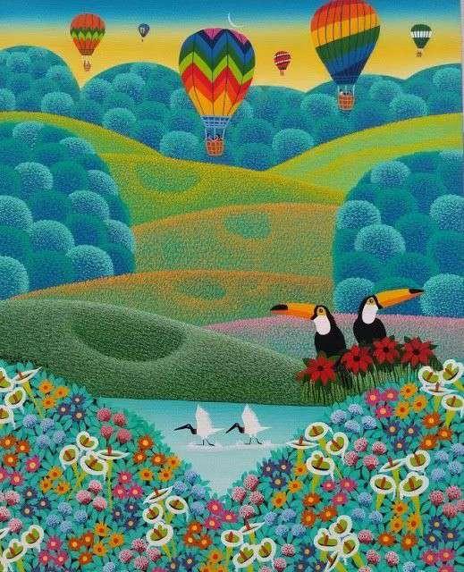 Imagen Robson Barros artista naif tema paisagem
