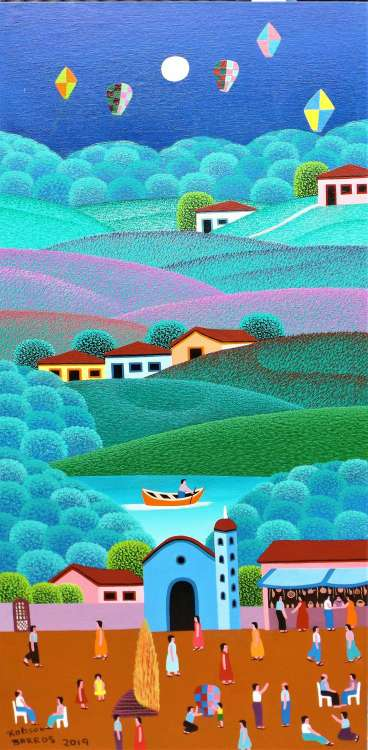 Imagen robson barros artista naif tema fazenda medida 30x50