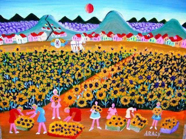 Imagen Aracy tema colheita de girassóis medida 30x40