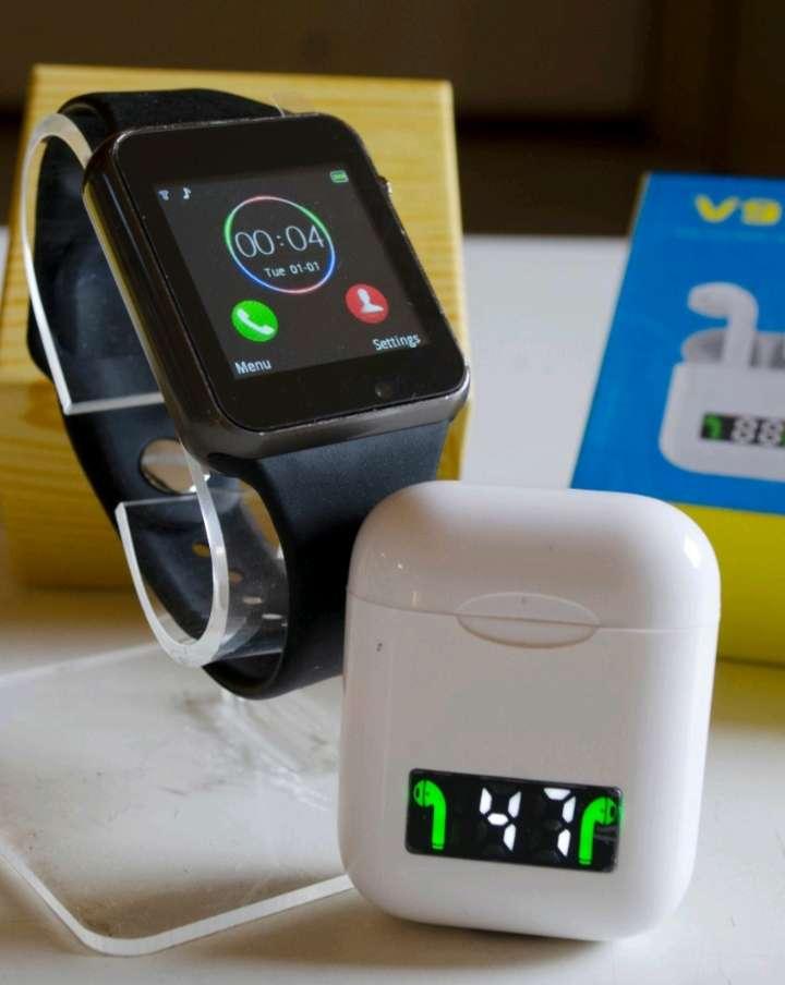 Imagen Kit  Relógio inteligente A1 + Fone Bluetooth V9/i99 sincronização Smart