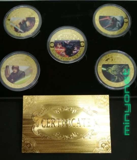 Imagen producto Colección de 5 monedas - medalla Star Wars chapadas en oro 24 K. - la guerra de las galaxias 2