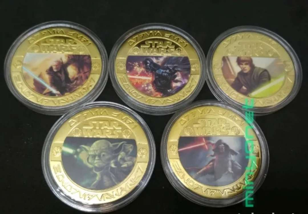 Imagen Colección de 5 monedas - medalla Star Wars chapadas en oro 24 K. - la guerra de las galaxias
