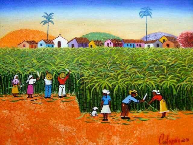 Imagen castorina artista naif tema colheita de cana de açúcar medida 30x40