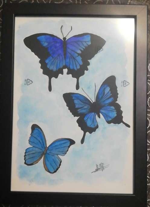 Imagen acuarela a mano mariposas