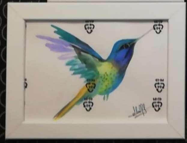 Imagen acuarela a mano colibrí