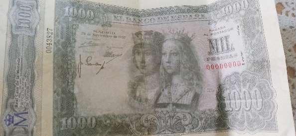 Imagen billete mil pesetas antiguas serie 00000000