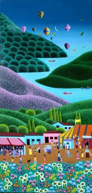 Imagen Robson Barros artista naif tema Paraíso  medida 40x70