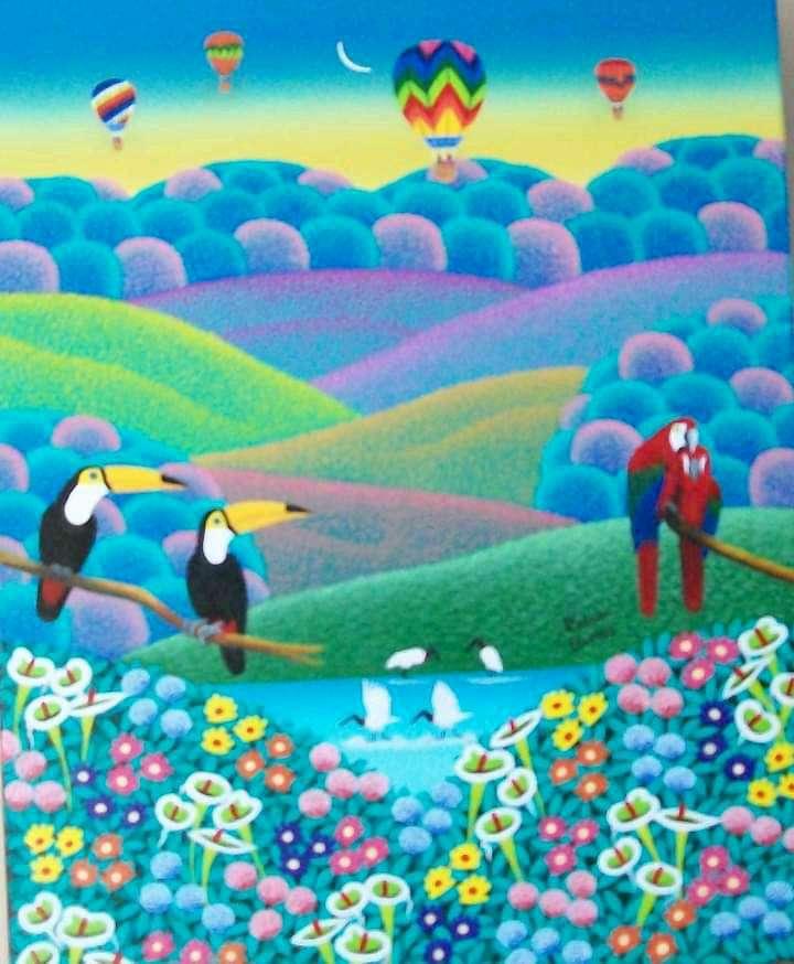 Imagen Robson Barros artista naif tema tucanos medida 50x60