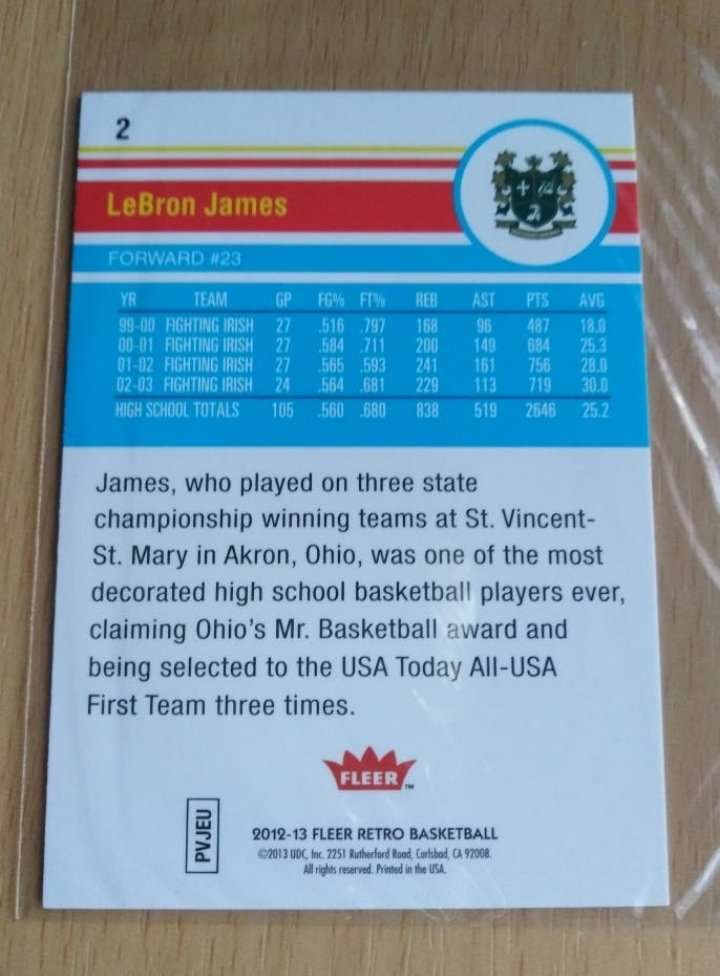 Imagen producto Lebron james card. NBA  2
