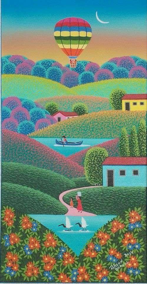 Imagen Robson Barros artista naif tema Paraíso na terra