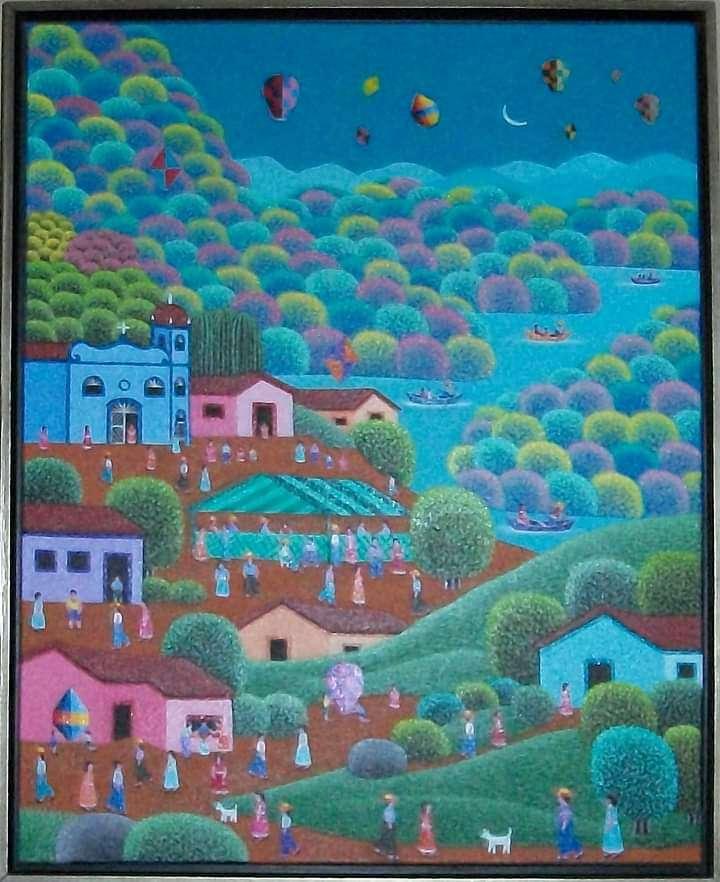 Imagen Robson Barros artista naif tema fazenda Santa Cruz  Galeria Ajur sp divulgador da naif