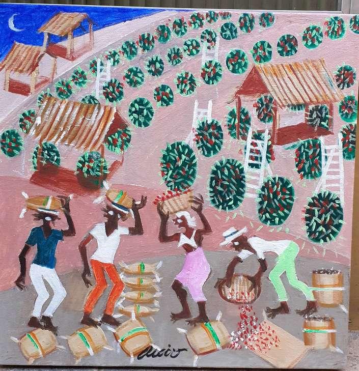 Imagen Aécio artista naif tema colheita de café 40x40