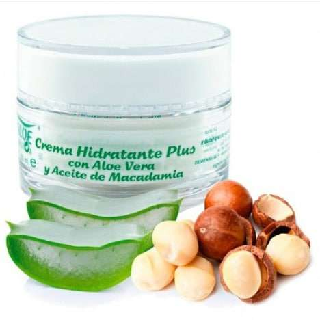 Imagen crema hidratante plus con aloe y aceite de nuez moscadamia