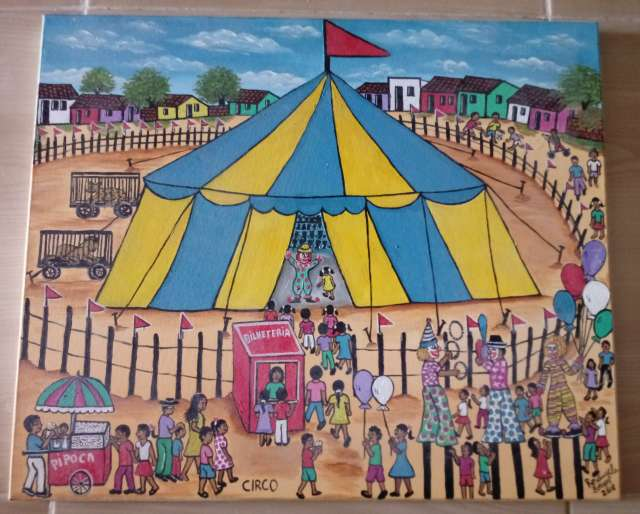 Imagen Rosangela Borges artista naif tema circo medida 60x50