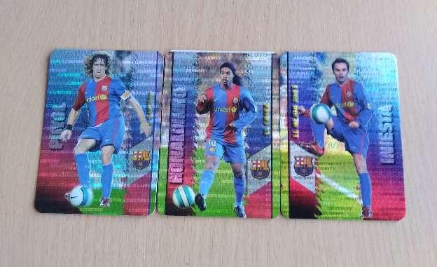 Imagen producto Card Puyol Ronaldinho Iniesta nuevos security.  1