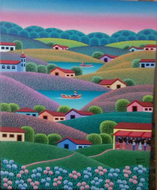 Imagen Robson Barros artista naif tema Cachoeira medida 40x50