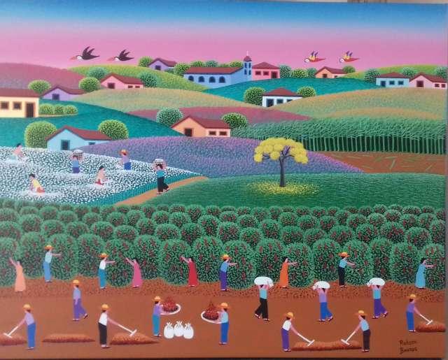 Imagen colheita do café tela de robson Barros