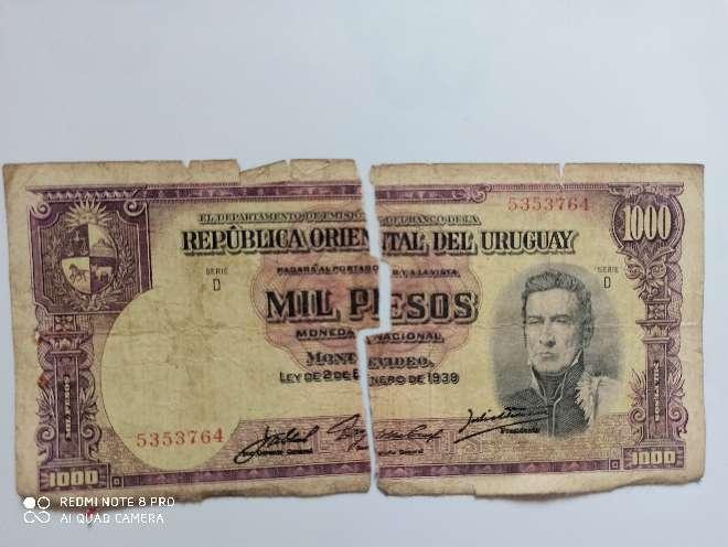 Imagen año 1939 de Uruguay dañado