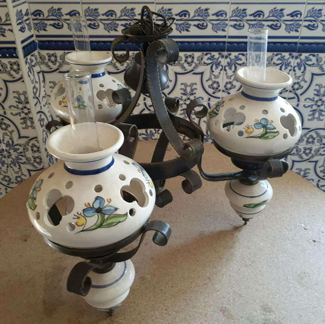 Imagen producto Lampara forja y cerámica 1