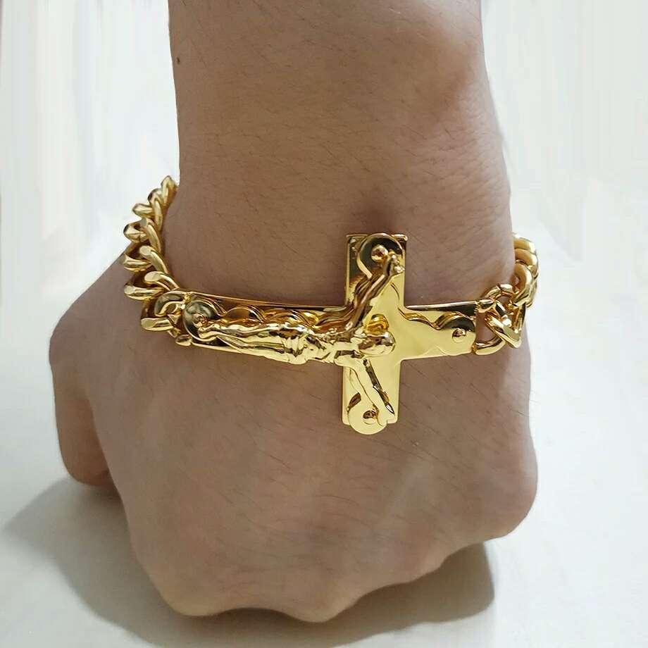 Imagen pulsera en forma de cruz de acero inoxidable color oro
