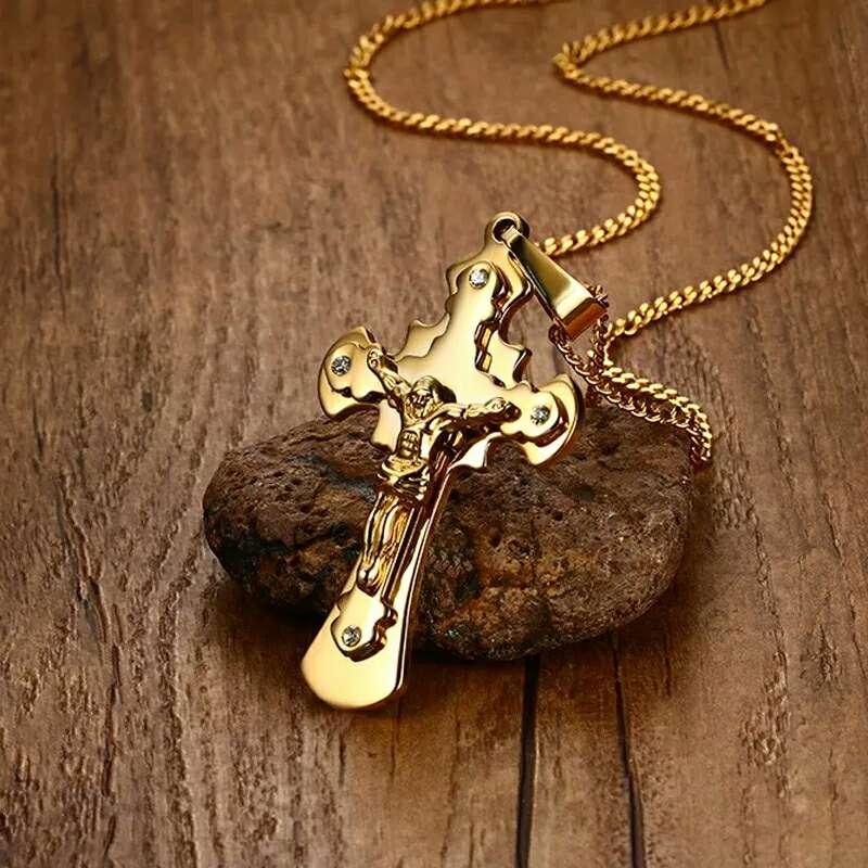 Imagen COLGANTE DE CRUZ de acero inoxidable color oro