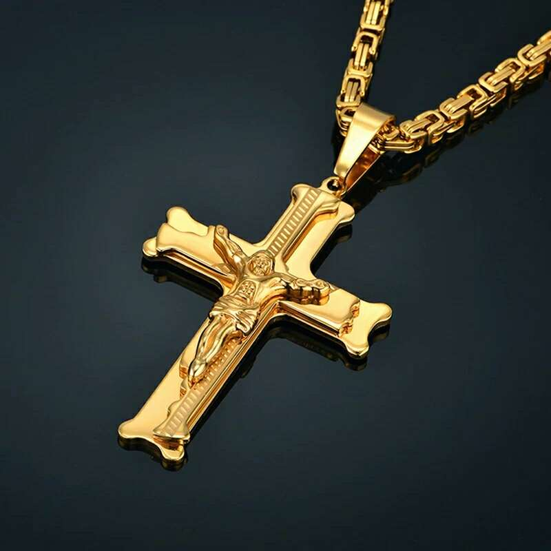 Imagen colgante de cruz + cadena de acero  color oro