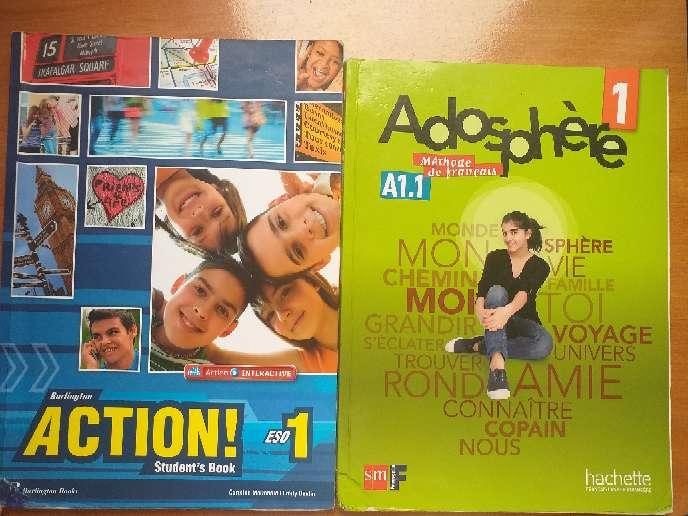 Imagen Libros de 1°ESO de Inglés y Francés.