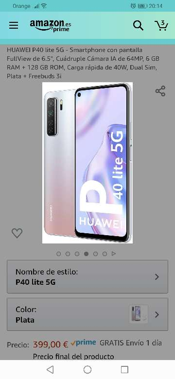 Imagen Vendo HUAWEI P40 LITE 5G color Plata, año 2020