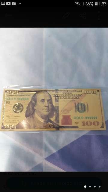 Imagen Billete 100 dólares oro