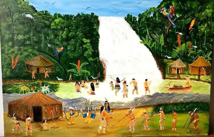 Imagen Vila tupi guarani  painel 90 x 60 pintura de a. Almeida