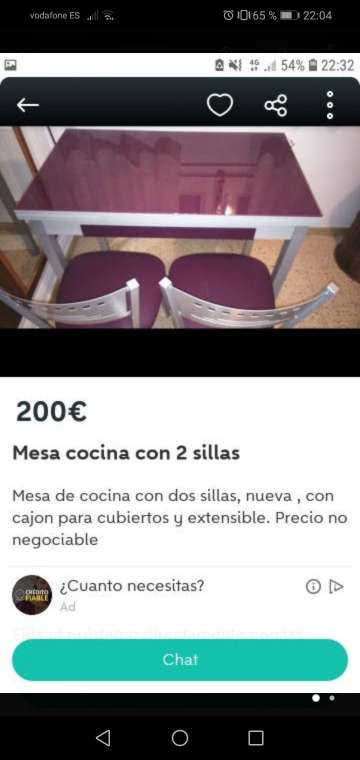 Imagen Mesa de coçina con dos sillas