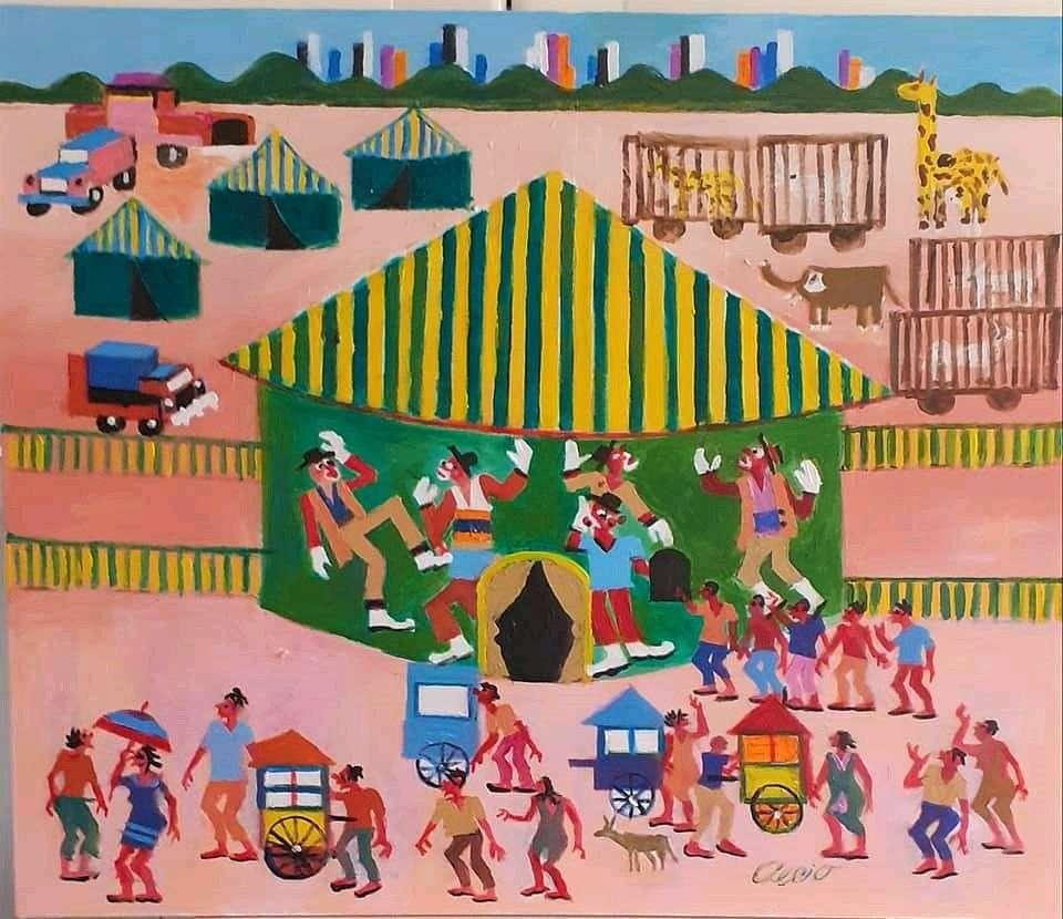 Imagen Aécio tema circo medida 50x70  Galeria Ajur sp divulgador da arte naif