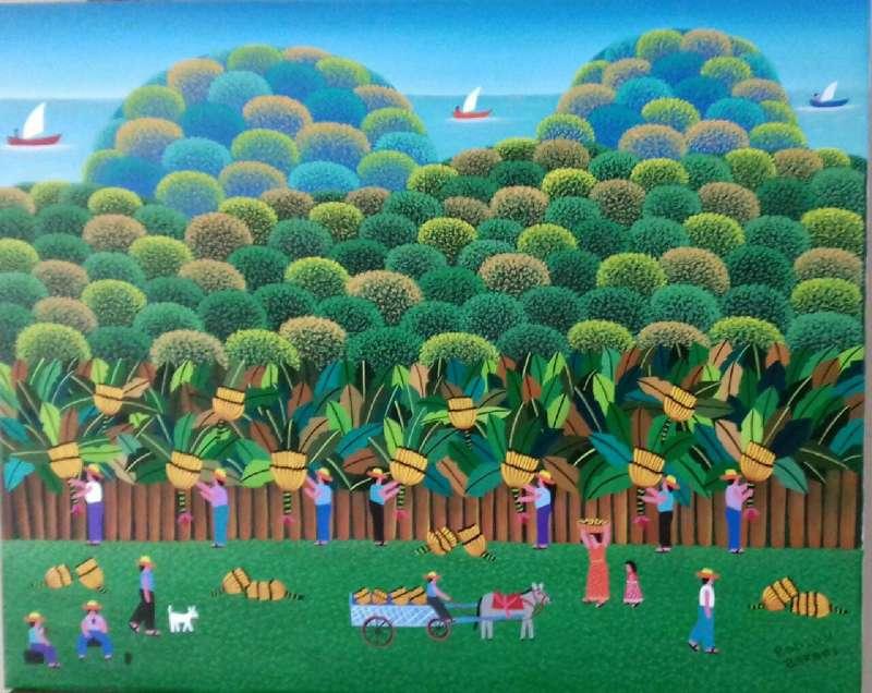 Imagen robson barros artista naif tema colheita de banana medida 50x40