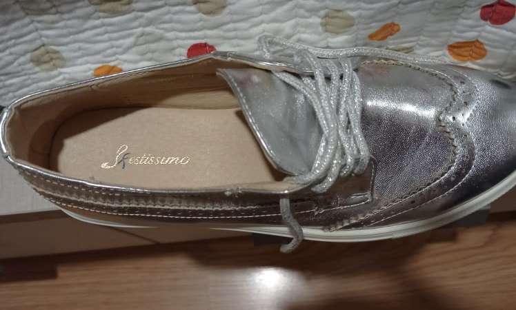 Imagen producto Zapatos planos plateados T39  2