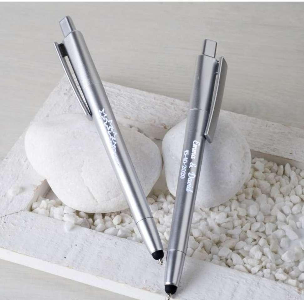 Imagen producto Bolígrafo plata estrellas/corazones con puntero táctil y LED interior   1