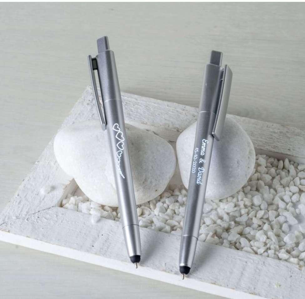 Imagen producto Bolígrafo plata estrellas/corazones con puntero táctil y LED interior   2