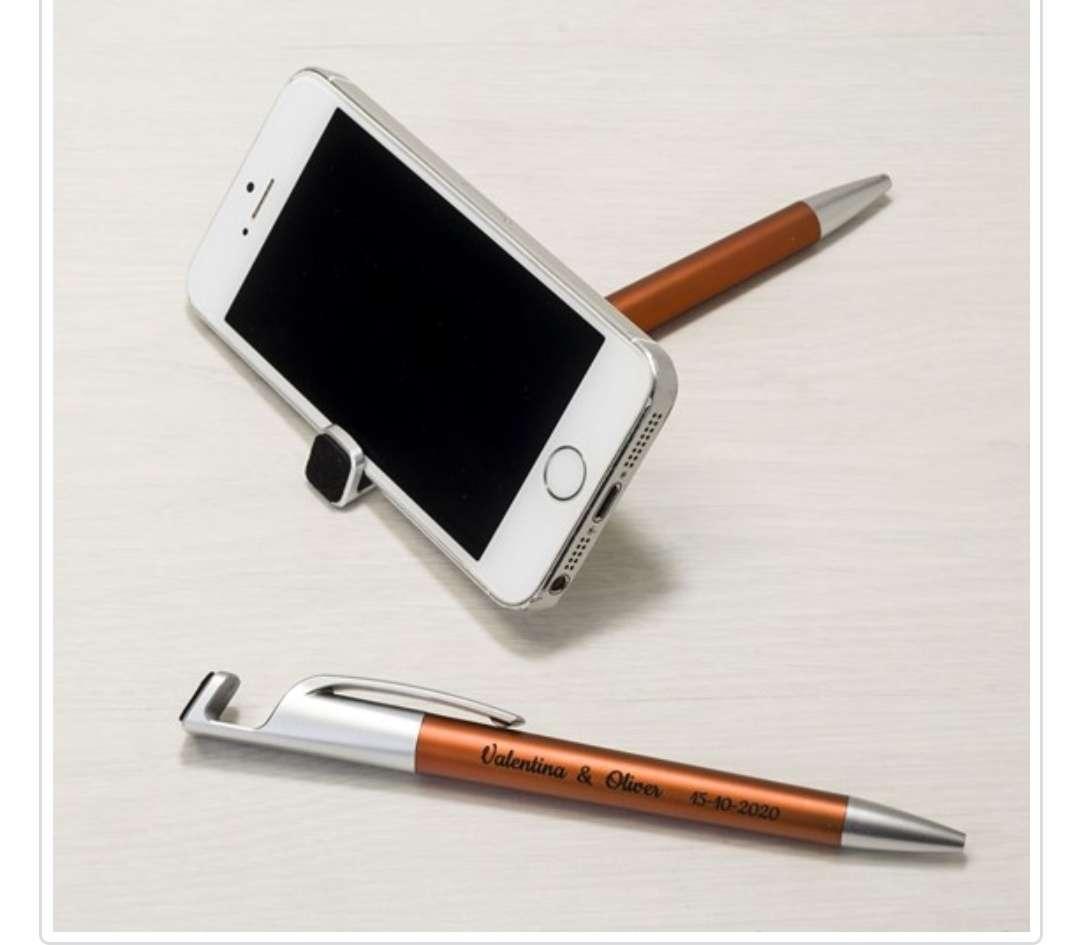 Imagen producto Bolígrafo soporta móvil ocre o azul con borra huellas pantalla 1