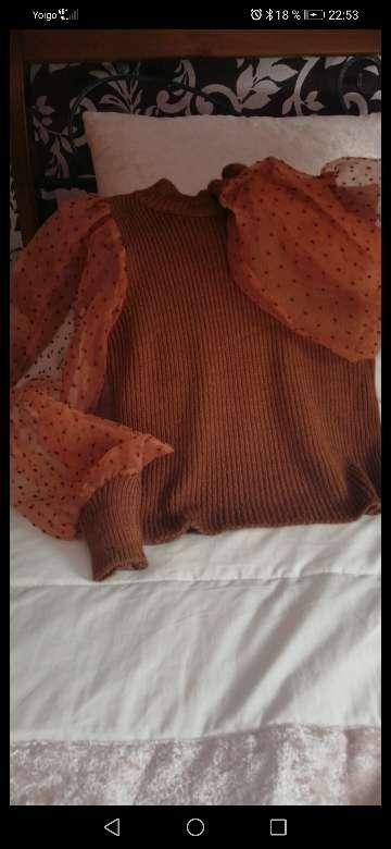 Imagen Jersey de punto y mangas de tul y plumetti