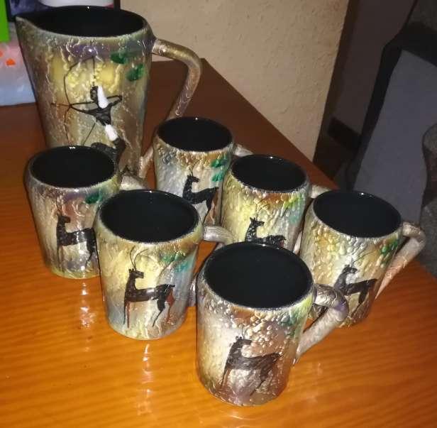Imagen Conjunto cerámica jarra y 6 tazas