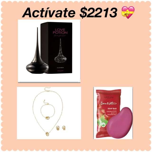 Imagen perfume collar arete cadena y un jabón de regalo.