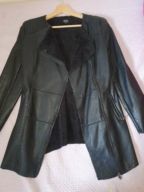 Imagen abrigo de cuero negro