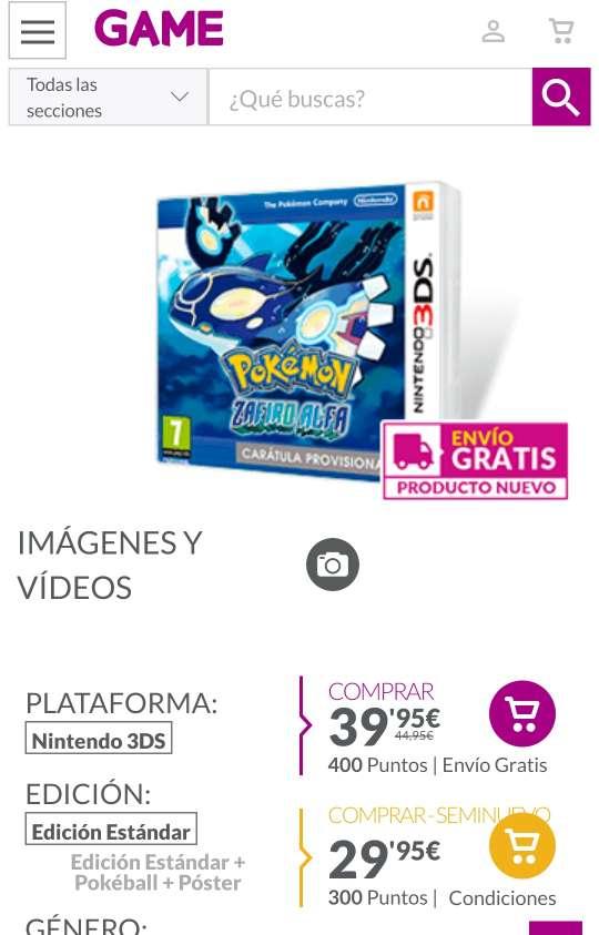 Imagen producto Pokémon Zafiro Alfa Para Nintendo 3DS y 2DS 2