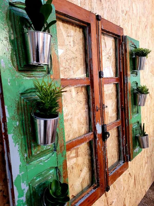 Imagen producto Ventana vintage restaurada decorada con plantas y luz 3