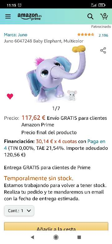 Imagen producto Bebé Elefante Juno 5